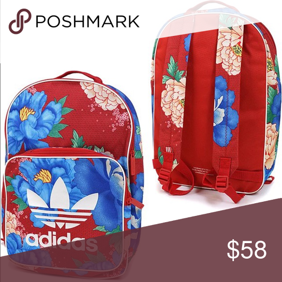 Adidas originals Chita red blue flower backpack NWT Adidas originals white  trefoil farm company blue red Multicolor big large flower floral backpack  ... 3b7fd8d0fdac
