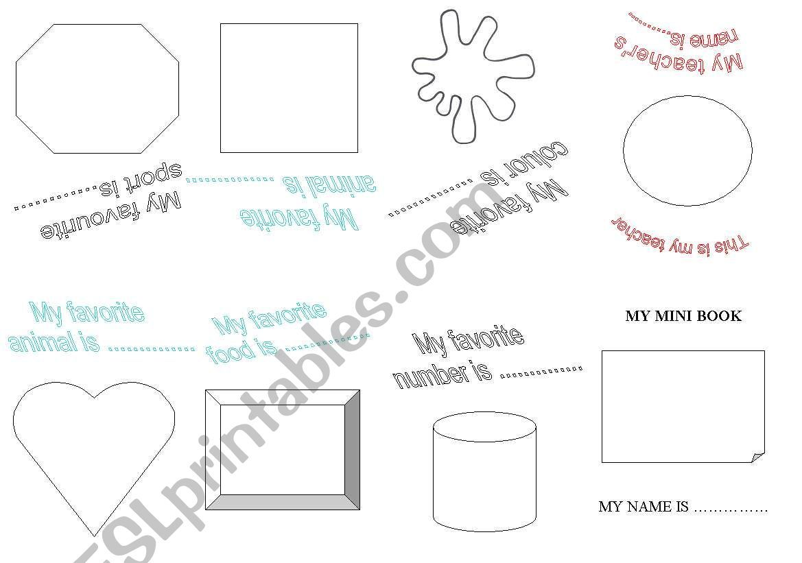 My Personal Mini Book Worksheet In