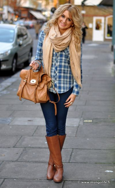 Cute, the scarf, girly bag and boots makes the checked shirt feminine.