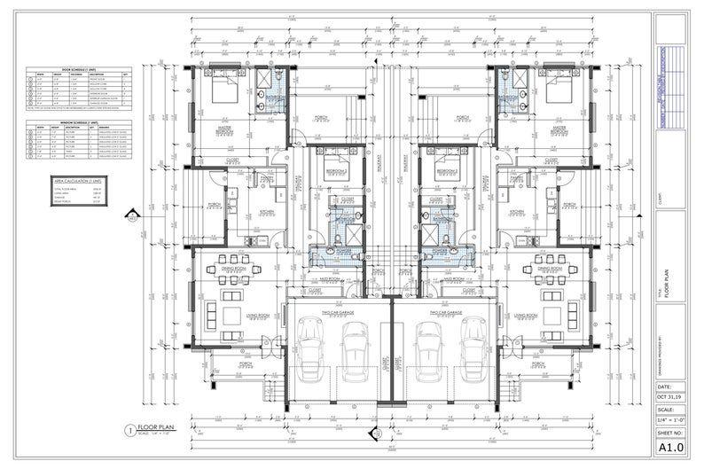 4 Bedroom Duplex House Plan Family Duplex 4 Bed Duplex Floor Plan Instant Download Duplex House Plan Semi Detached House Plan Buy Now In 2020 Duplex Floor Plans Duplex House Plans Duplex House