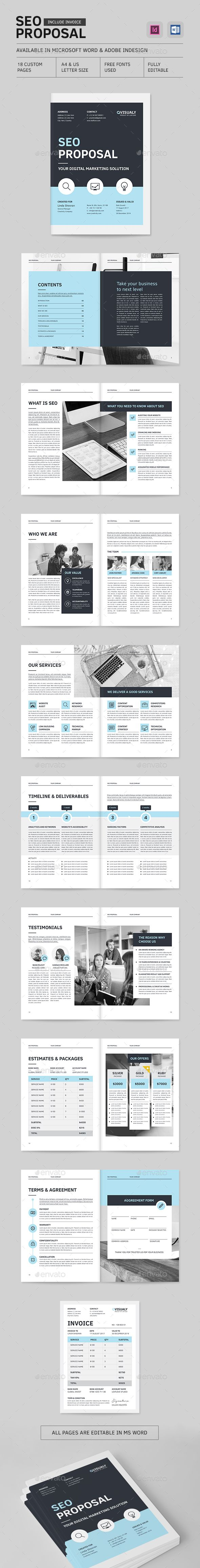 Seo Proposal Brochure Template Indesign Indd  DesignWork Ideas