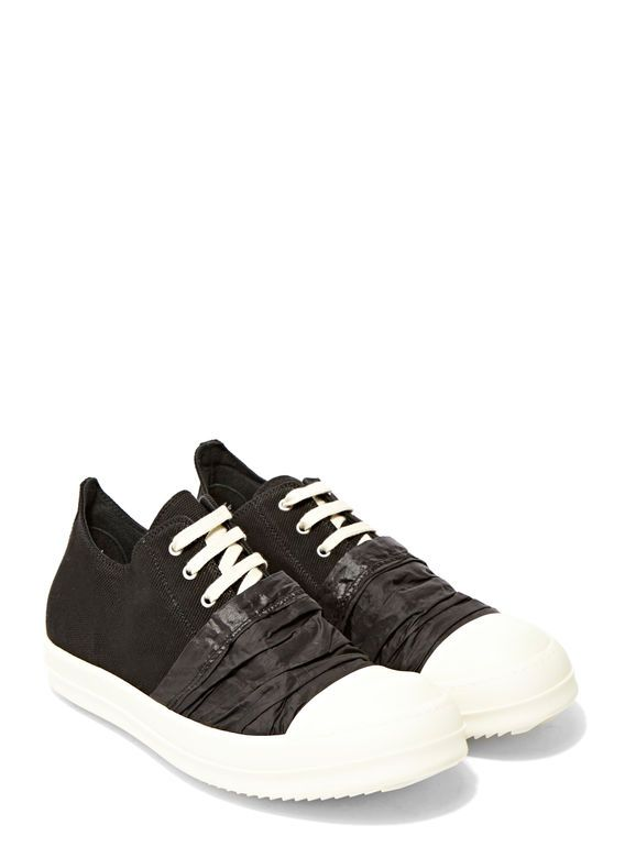 Rick Owens Drkshdw Black & Off-White Canvas Low Sneakers eiXQs
