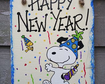 snoopy and woodstock confetti hats and glitter hand painted happy new year wall hanging slate