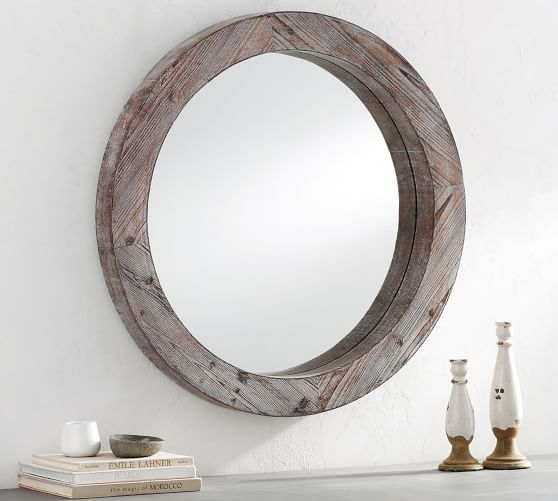 Round Wood Framed Wall Mirror 36 Wood Mirror Mirror Frame Diy Diy Mirror