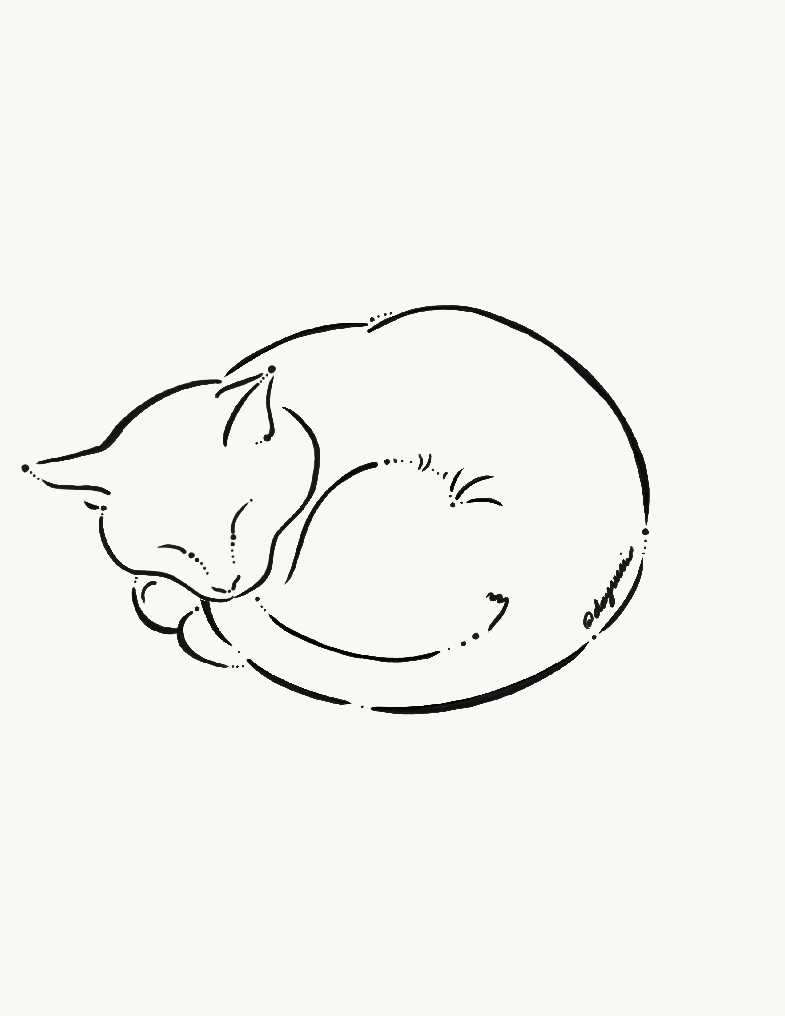 Commission Personalized Black And White Simple Sleeping Cat Tattoo Design Cat Tattoo Designs Cat Tattoo Simple Kitten Tattoo