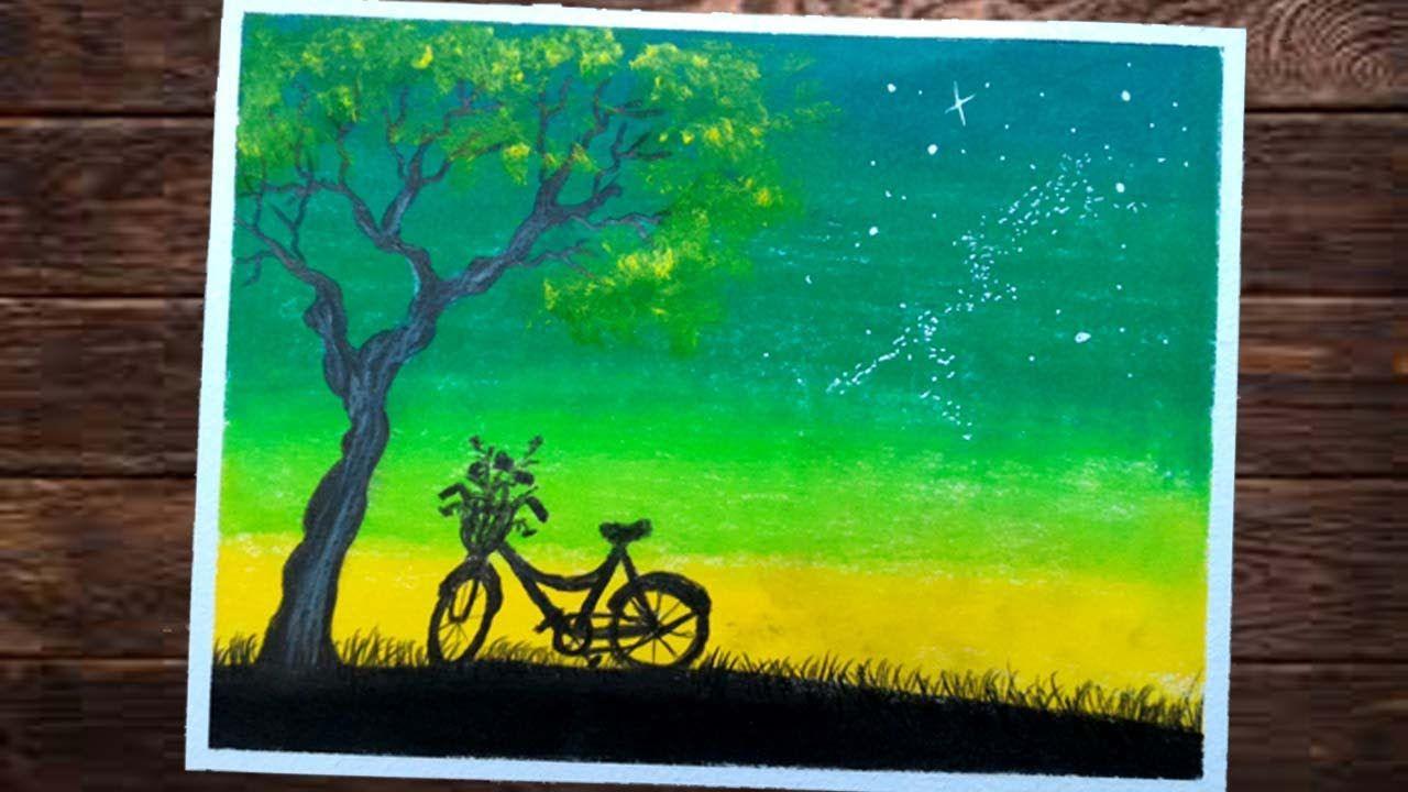 MENGGAMBAR DAN MEWARNAI Langit Malam Dengan Crayon