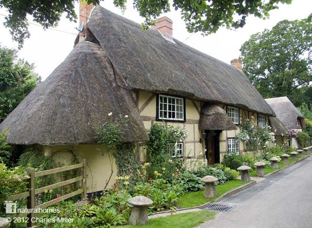 ~This is a re-purposed village. Many of the oak frame wattle & daub cottages in Wherwell, Hampshire, England were built in the early 16th century after Henry VIII disbanded Wherwell Abbey. You can see more cottages from the village at www.naturalhomes.org/wherwell.htm~