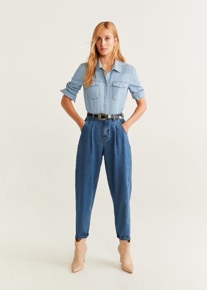 MANGO Female Chest pocket denim shirt medium blue mango