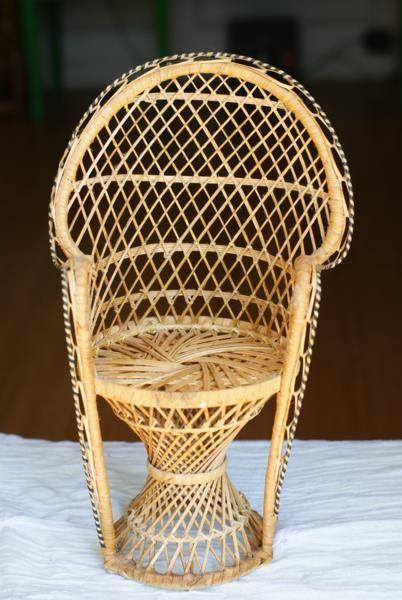 Vintage Miniature Peacock Chair Planter Wicker Fan Chair