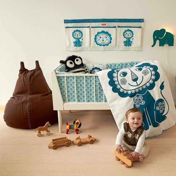 Bettwasche Soulmate Lowe Blau Graublau Von Roommate Baby 70 X 100