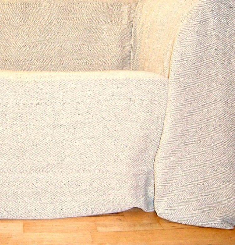Cotton Natural And Beige Herringbone