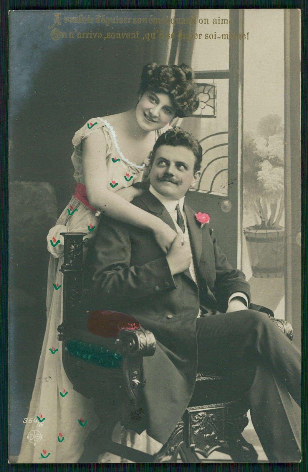 Edwardian Lady Love Romance Couple Flirt Kiss original old