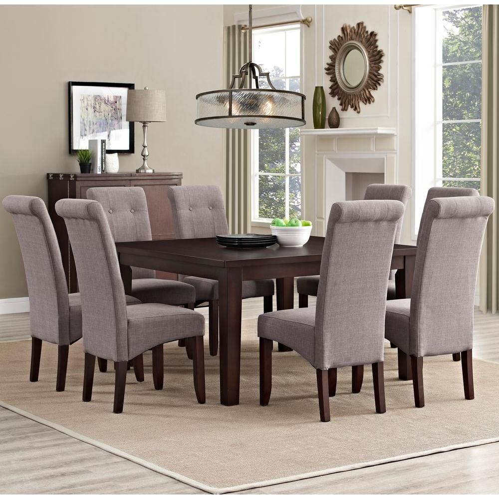 Cosmopolitan Solid Wood And Linen Look Polyester 9 Piece Dining Set In Light Mocha