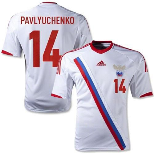 russia 14 roman pavlyuchenko white away soccer country jersey only 21.50usd