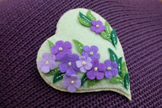 Purple Flowers Brooch Spring Gift For Her Lilac Flowers Heart Pin Felt Brooch Embroidered Brooch Valentine Heart Valentines Day Gift Felt Ornaments Felt Brooch Felt Flowers