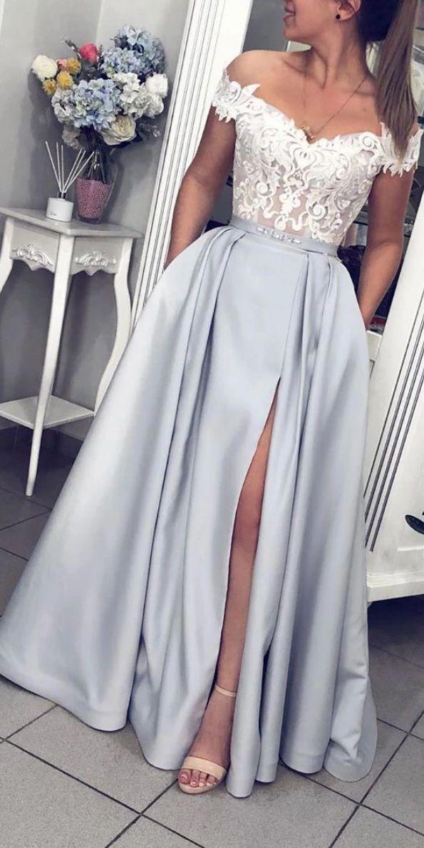 Elegant A Line Grey Satin White Lace Off The Shoulder Strapless Long Prom Dress Evening Dress OHC346