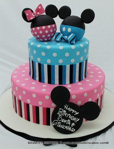 Mickey And Minnie Are Great For Any Baby S Birthday Desserts Cakes Birthday Mickeymouse Minniemous Twin Birthday Cakes Minnie Cake Mickey And Minnie Cake