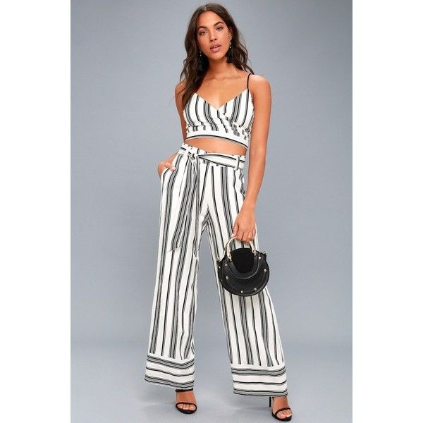 0bad28d733b9 Elspeth Black and White Striped Two-Piece Jumpsuit ( 96) ❤ liked on  Polyvore featuring jumpsuits