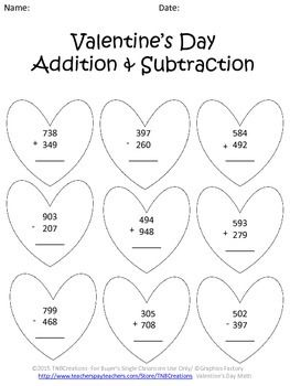 Valentine S Day Math Worksheets Kids Math Worksheets Math Math Worksheets