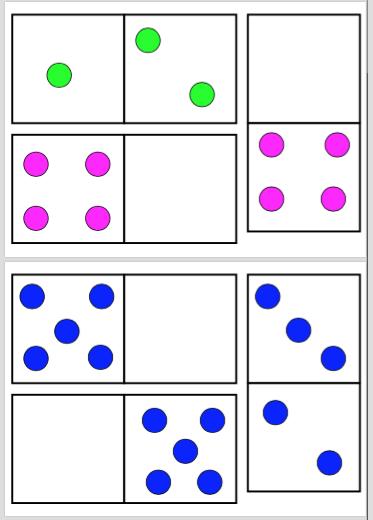 Adjuntamos las plantillas de los dominós con los puntitos de colores ...