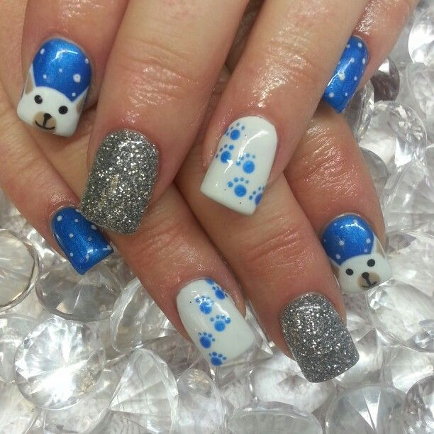 winter polar bear nails paw prints and glitter instagram. Black Bedroom Furniture Sets. Home Design Ideas