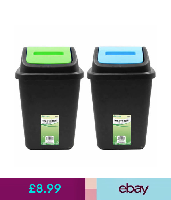 Waste Bins Dustbins 9ltr Small Mini Plastic Waste Rubbish Bin With Swing Flip Top Lid Kitchen Office Ebay Home G Rubbish Bin Plastic Waste Kitchen Office