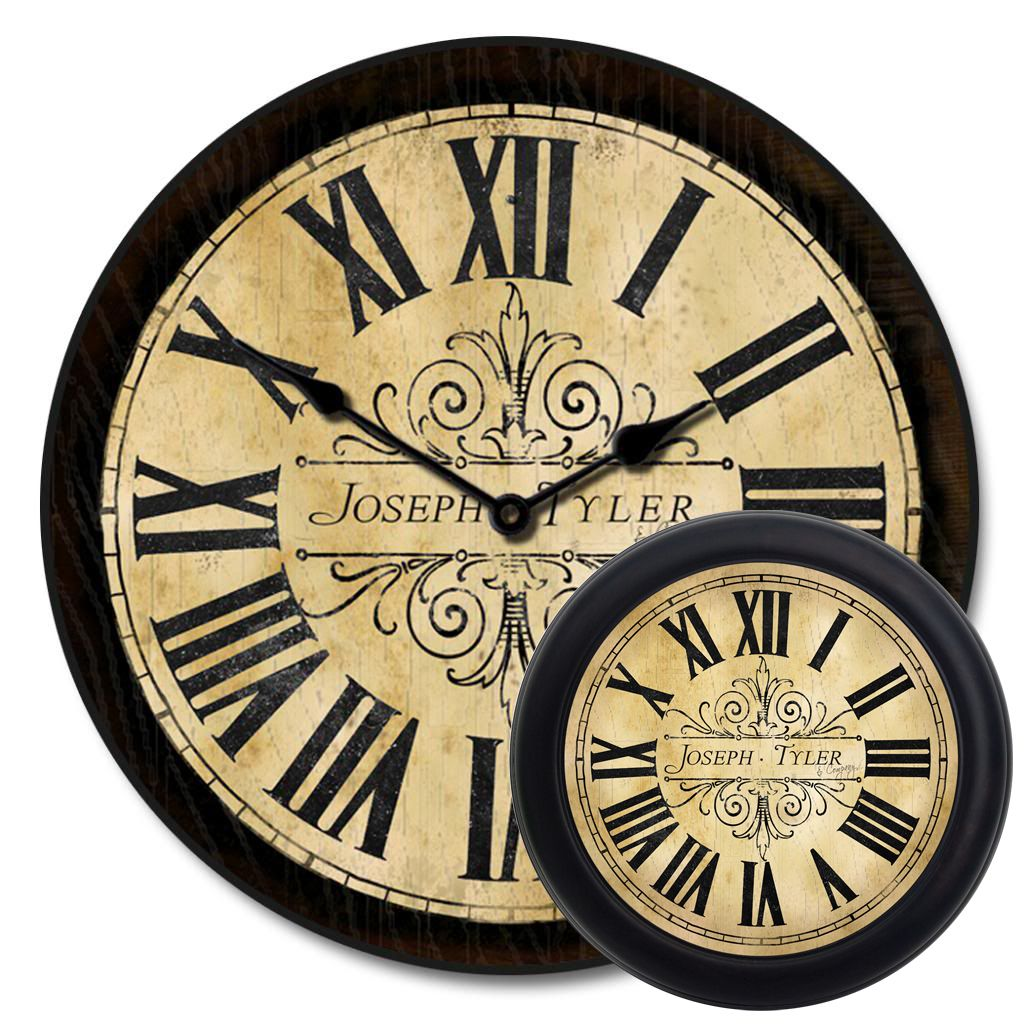 This Tuscan Villa Large Wall Clock has a weathered roman numeral ...