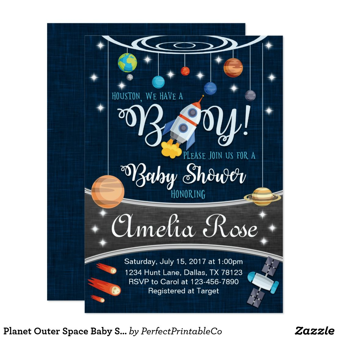 planet outer space baby shower invitation boy