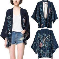 S/M/L Women Retro Ethnic Phoenix Loose Style Kimono Cardigan Jacket Coat Tops -S