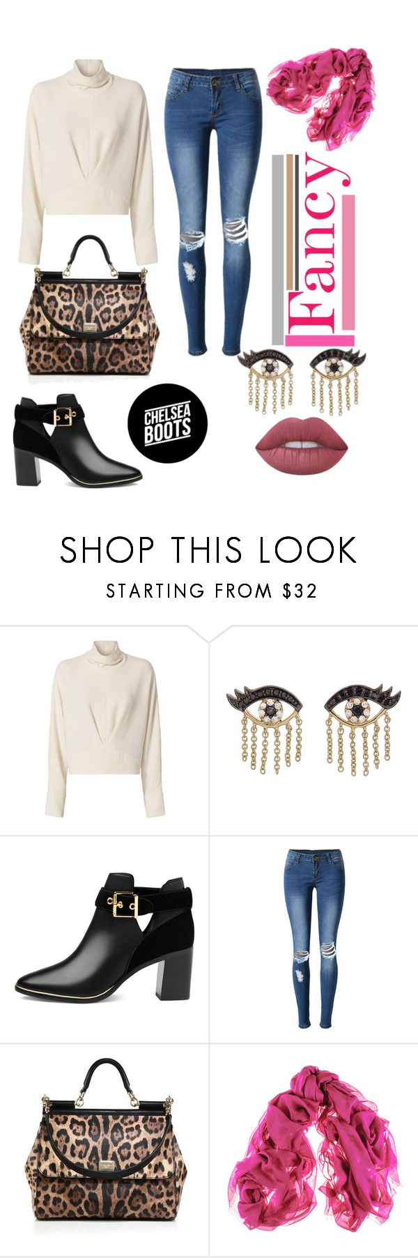 """Fancy"" by belen-cool-look ❤ liked on Polyvore featuring IRO, Sydney Evan, Ted Baker, WithChic, Dolce&Gabbana, Black and Lime Crime"