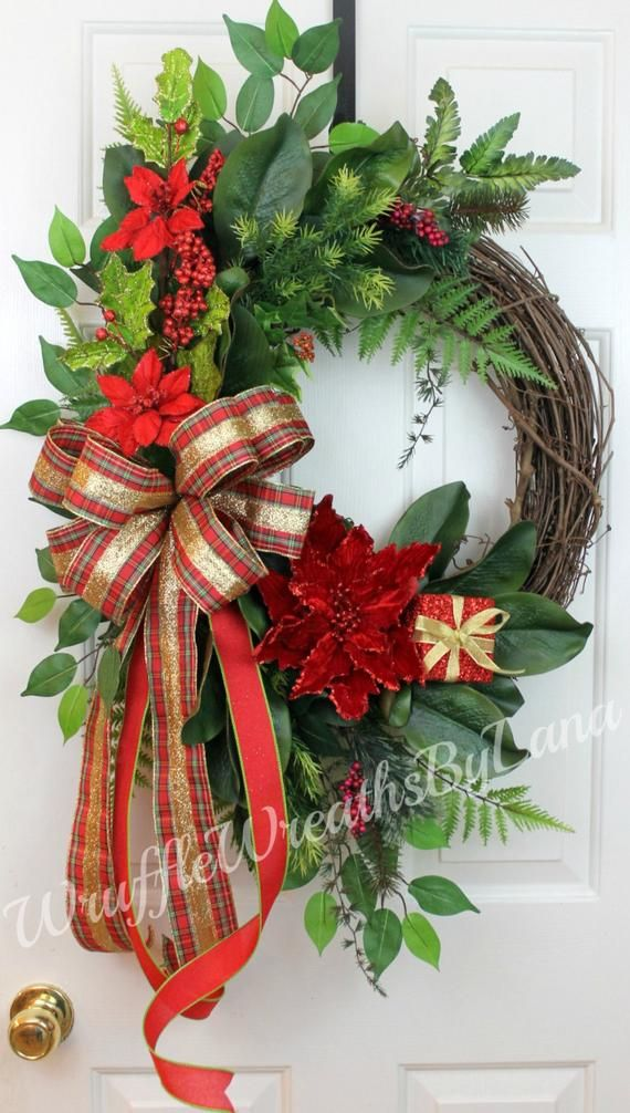 Clearance! Christmas Magnolia Grapevine Wreath, Christmas Grapevine