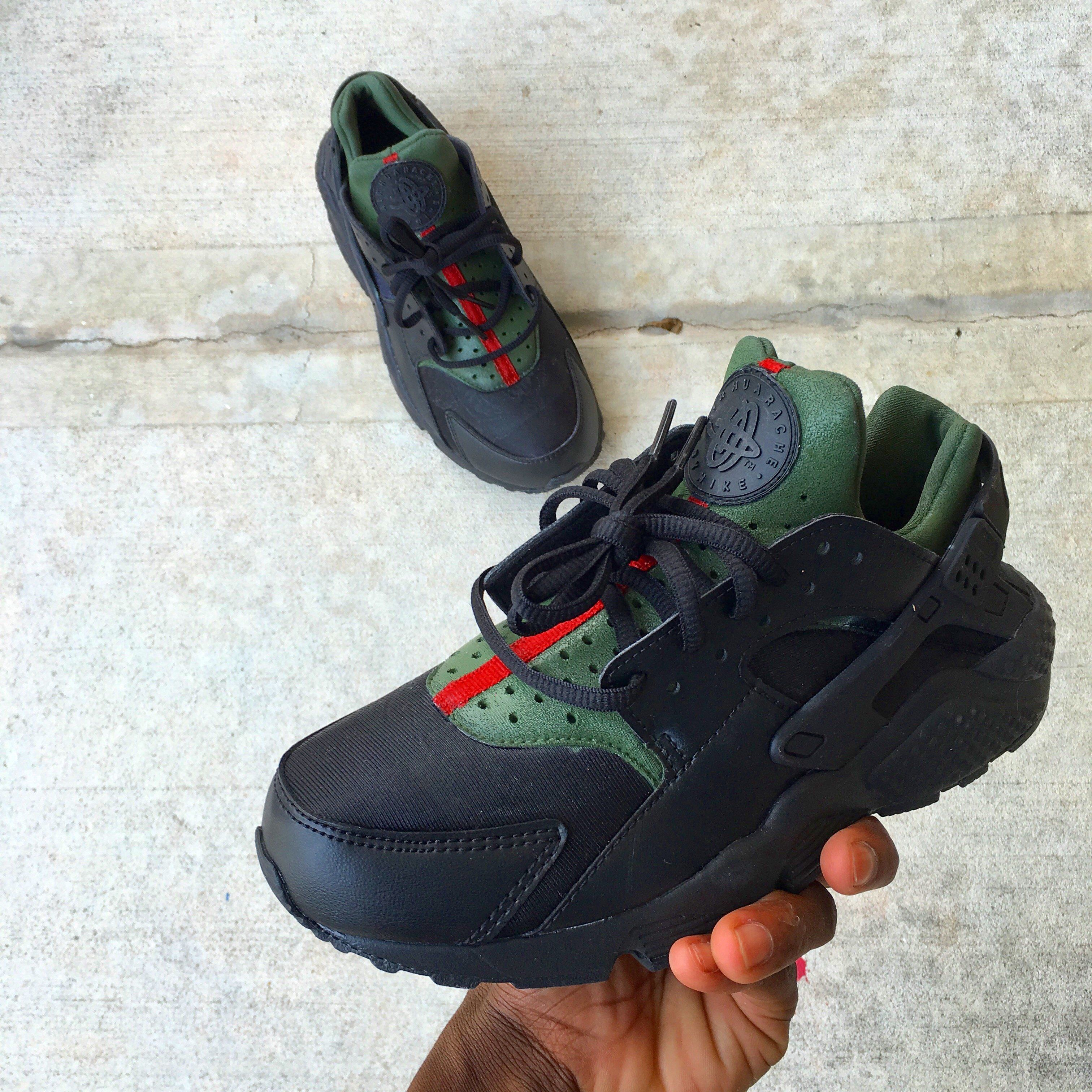 c8db29eda5e1 Black Gucci Huarache is hand painted. Orders can take 2-3 weeksIf you would  like your order sooner add rush to your order