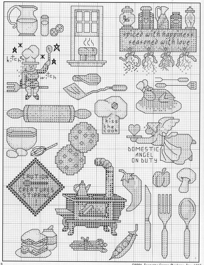 Kitchen motifs - 2 motivos para bordar ponto cruz para cozinha