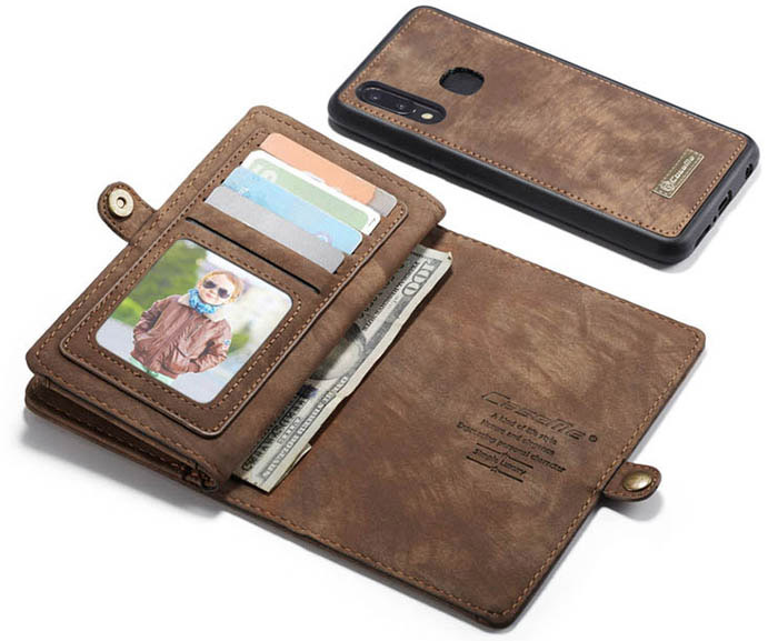 CaseMe Samsung Galaxy A30 Wallet Magnetic Detachable Case Coffee