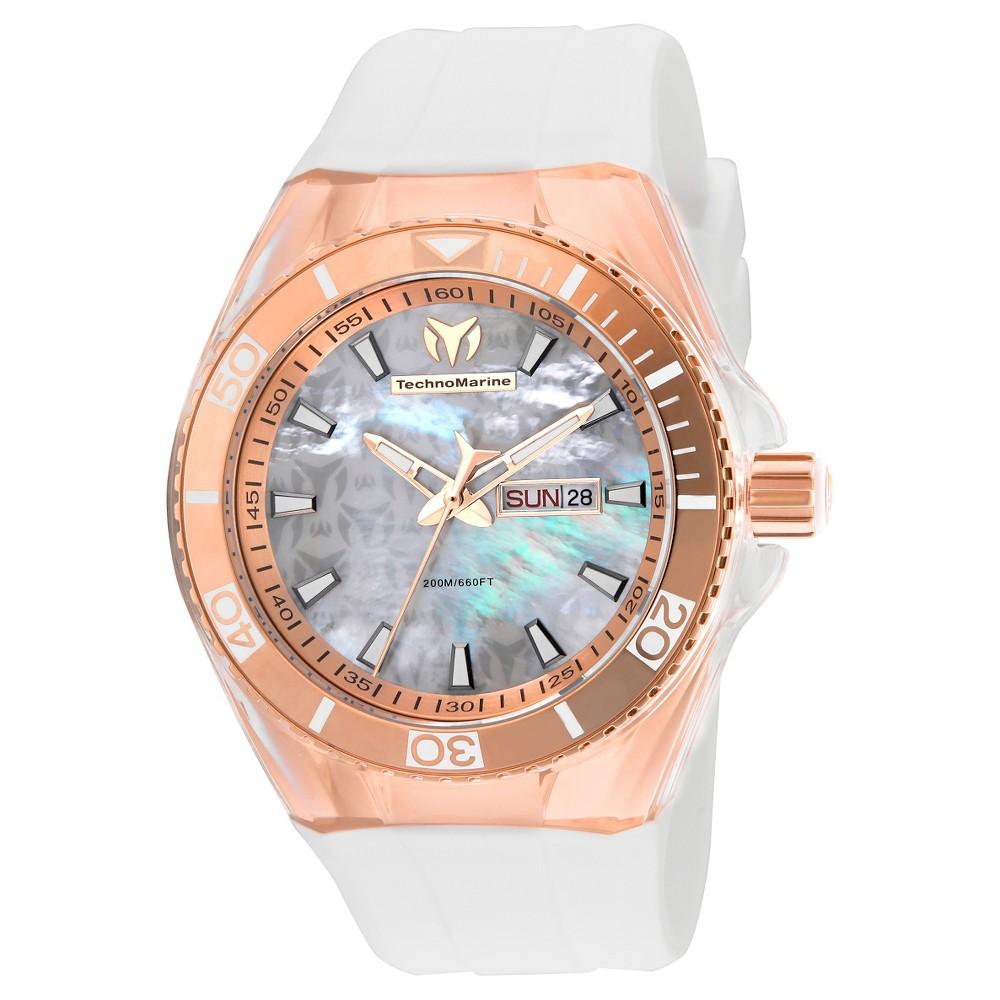 Men's Technomarine TM-115063 Cruise Monogram Quartz White Dial Strap Watch - White