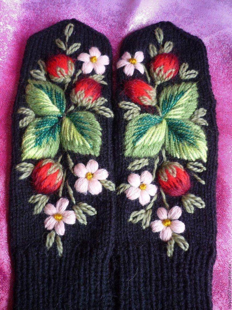 Объемная вышивка на варежках своими руками схемы фото 257
