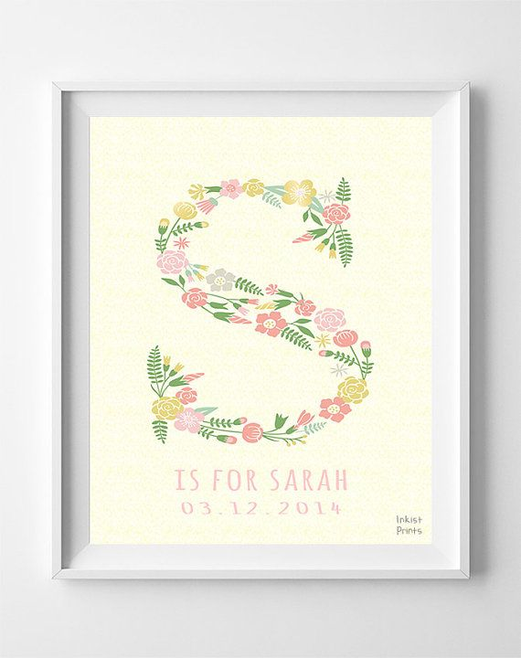 Personalized baby gifts personalized prints personalized poster custom baby name sarah art letter s sophie sarah by inkistprints negle Choice Image