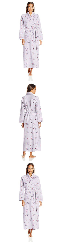 Carole Hochman Women\'s Diamond Quilted Long Robe, Flowers Pale Lotus ...