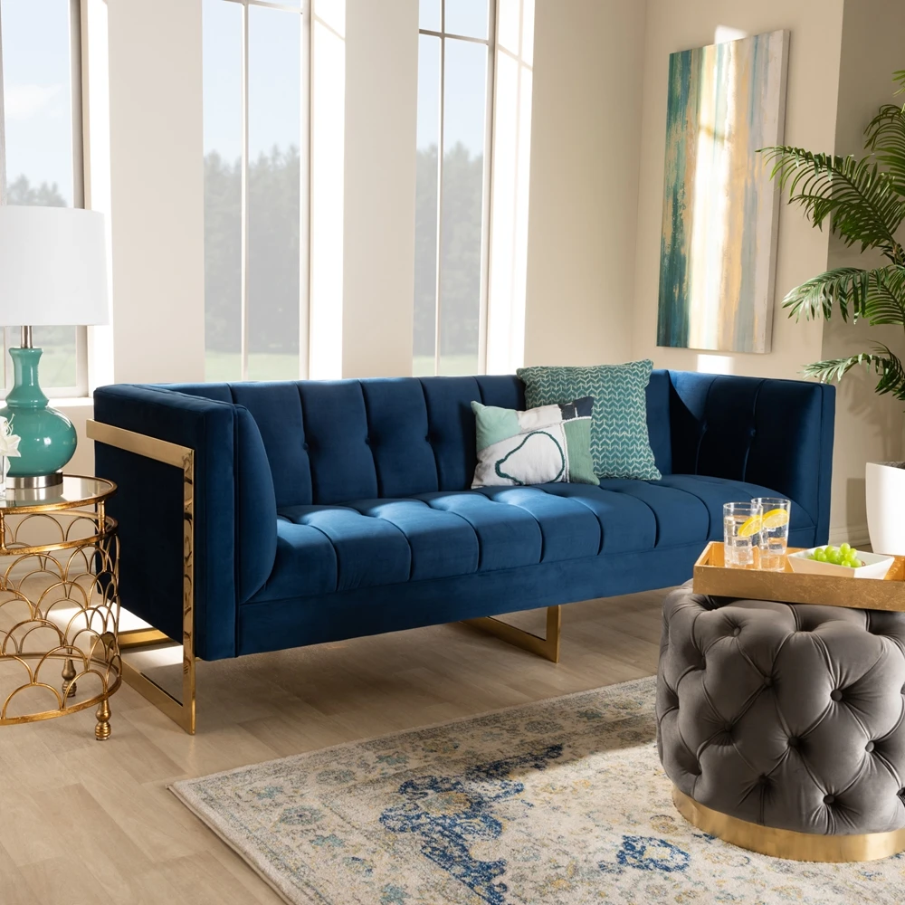 Ambra Navy Velvet Tufted Sofa Au Courant Interiors In 2020 Blue Velvet Sofa Living Room Velvet Sofa Living Room Blue Sofas Living Room