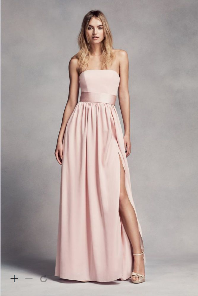 David 039 S Bridal Vera Long Strapless Bridesmaid Dress With Belt Blush Sz 4 Clothing Shoes Accessories Wedding Formal Occasion