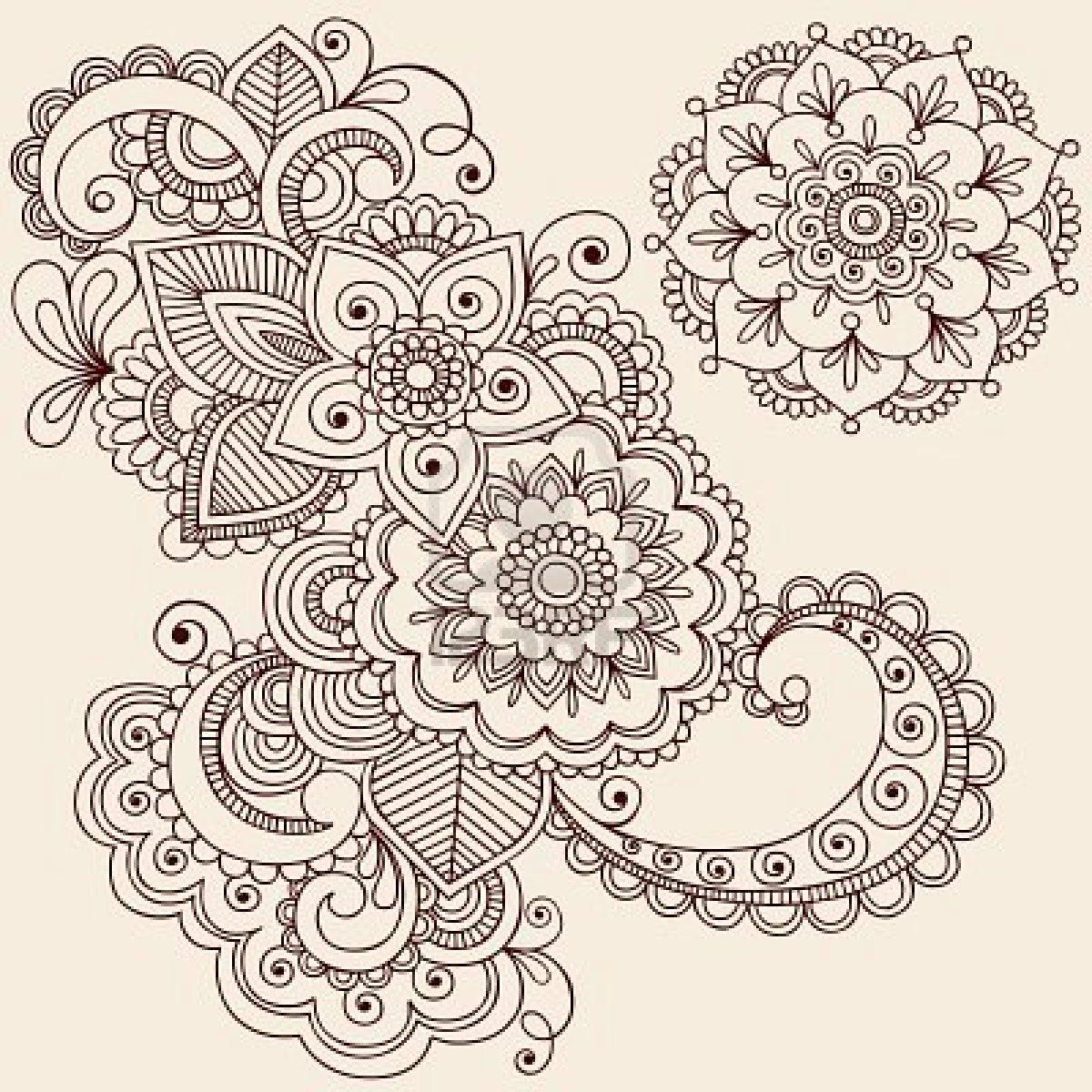 Hand Drawn Intricate Abstract Flowers And Mandala Mehndi Henna