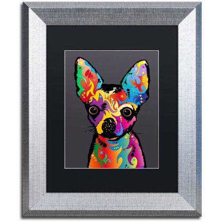 Trademark Fine Art Chihuahua Dog Grey Canvas Art by Michael Tompsett, Black Matte, Silver Frame, Size: 11 x 14, Red