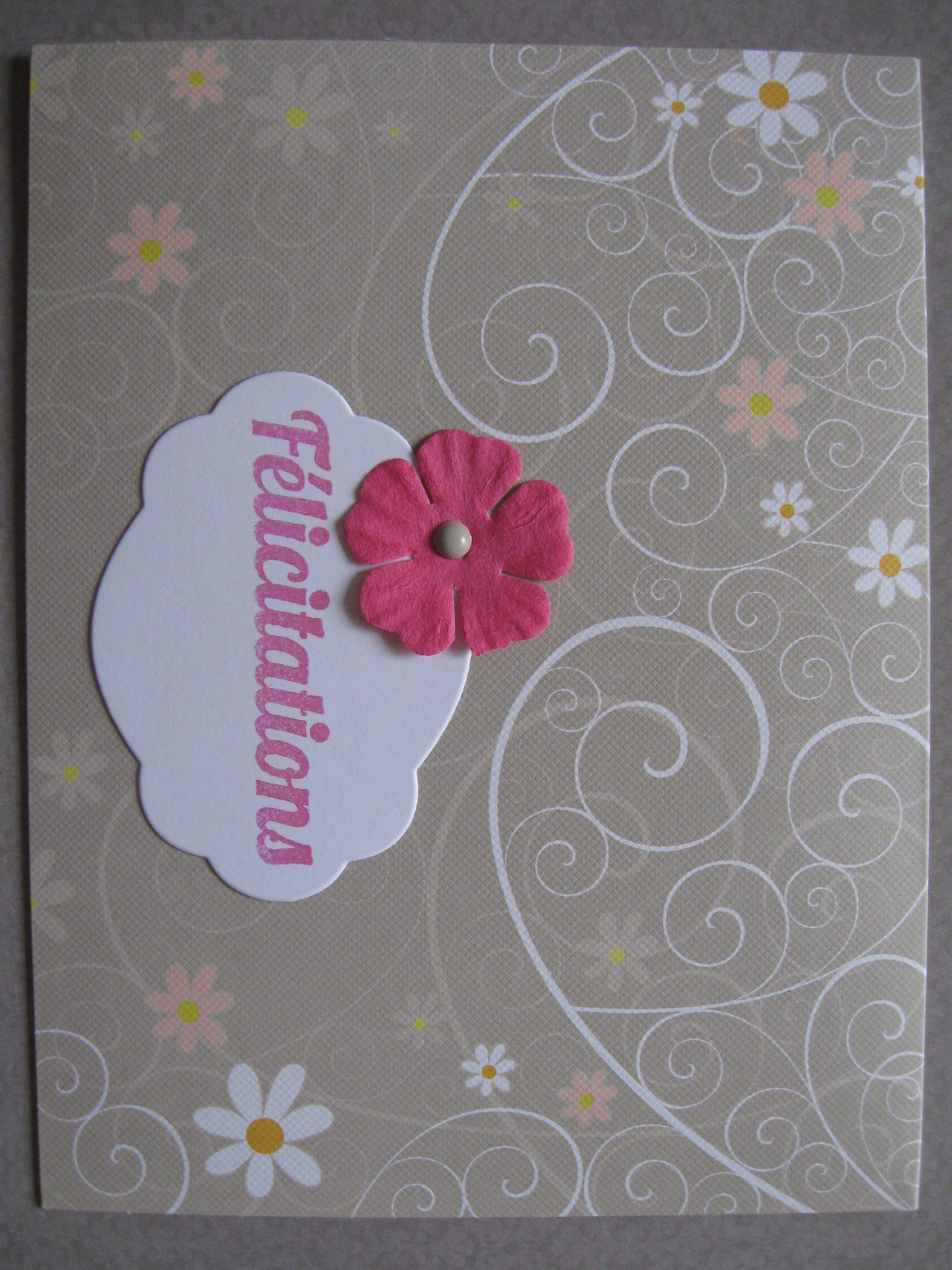 carte de f licitations mariage fleurs rose de biboun. Black Bedroom Furniture Sets. Home Design Ideas