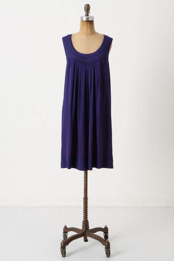 Anthropologie Sunbaked Shift Size S, Navy Blue Crepe Dress By Edme ...