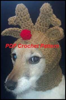 Pdf Crochet Pattern For Doggie Reindeer Hat For Small Breed Dogs