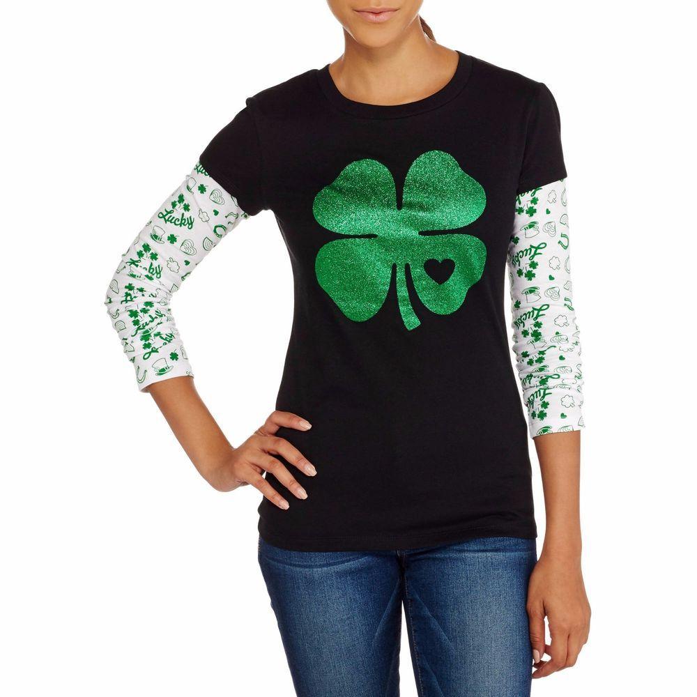 Womens St Patricks Day Shirt Glitter T-Shirt 2Fer S M L XL XXL  #Anvil #EmbellishedTee