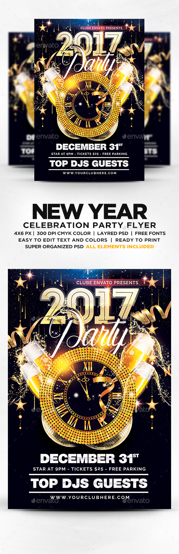New Year Party Flyer Template Psd  New Year Party Flyer Templates