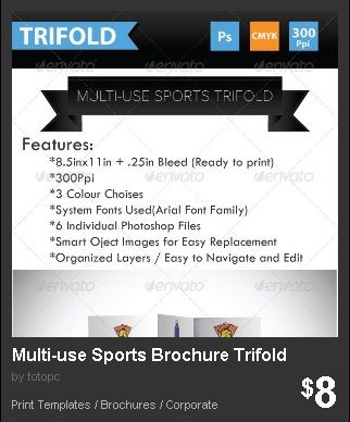 Multi-use Sports Brochure Trifold - A trifold brochure design for - sports brochure