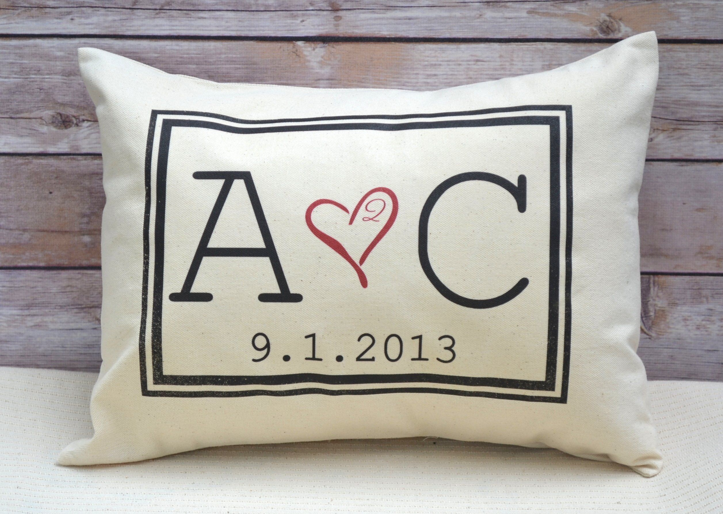 Personalized Pillow Two Hearts 2 Are One With Initial Monogram And Date Second Anniversary Cotton Gift 2nd