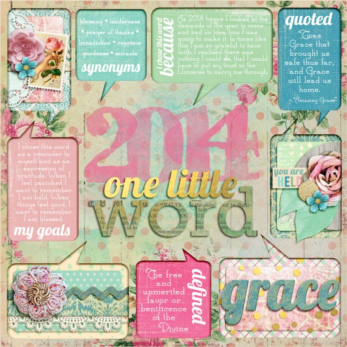 One Little Word For 2014 Grace Scrapbook Inspiration Digital